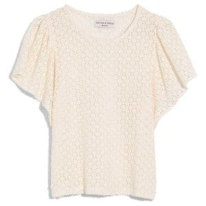 NWT Madewell Eyelet Flutter Sleeve Top SIZE M